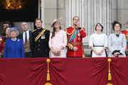 Prince Charles, Prince of Walesl, Princess Anne, Princess Royal, Queen Elizabeth II, Prince Andrew, Duke of York, Prince Harry, Catherine, Duchess of Cambridge, Prince William, Duke of Cambridge, Princess Eugenie, Princes Beatrice and Prince Edward, Duke of Kent stand on the balcony at Buckingham Palace during the annual Trooping the Colour Ceremony on June 15, 2013 in London, England. Today's ceremony which marks the Queens official birthday will not be attended by Prince Philip the Duke of Edinburgh as he recuperates from abdominal surgery and will also be The Duchess of Cambridge's last public engagement before her baby is due to be born next month.