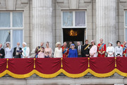 Lady Gabriella Windsor, Prince Michael of Kent, Princess Michael of Kent, Prince Edward, Earl of Wessex, Lady Helen Windsor, James Viscount Severn, Sophie, Countess of Wessex,  Camilla, Duchess of Cornwall, Prince Charles, Prince of Wales, Princess Anne, Princess Royal, Queen Elizabeth II, Prince Andrew, Duke of York, Prince Harry, Catherine, Duchess of Cambridge, Prince William, Duke of Cambridge, Princess Eugenie, Princes Beatrice, Prince Edward, Duke of Kent and Katherine, Duchess of Kent stand on the balcony at Buckingham Palace during the annual Trooping the Colour Ceremony on June 15, 2013 in London, England. Today's ceremony which marks the Queens official birthday will not be attended by Prince Philip the Duke of Edinburgh as he recuperates from abdominal surgery and will also be The Duchess of Cambridge's last public engagement before her baby is due to be born next month.