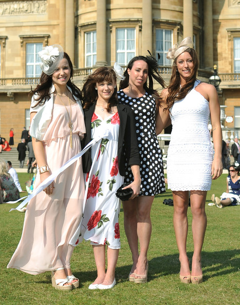 London 2012 Olympics Team GB Gymnasts (L-R) Hannah Whelan, Rebecca Tunney, Beth Tweddle and Imogen Cairns attend a Garden Party Queen Elizabeth II is hosting at Buckingham Palace on June 6, 2013 in London, England.