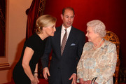 Queen Elizabeth II (R) with Sophie, Countess of Wessex and Prince Edward, Earl of Wessex during her reception to celebrate the patronages & affiliations of the Earl and Countess of Wessex at Buckingham Palace on February 10, 2015 in London, England