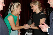 Sophie, Countess of Wessex meets actress Sheridan Smith during a reception to celebrate the patronages & affiliations of the Earl and Countess of Wessex hosted by Queen Elizabeth II at Buckingham Palace on February 10, 2015 in London, England