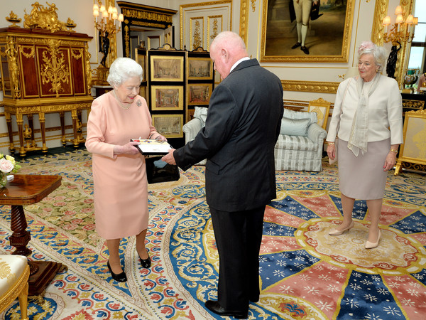 John Mars Receives Knighthood From The Queen [knighthood,john mars,elizabeth ii,john mars receives,queen,religious institute,pope,flooring,event,clergy,bishop,vestment,nuncio,presbyter,art,windsor castle,american,england]