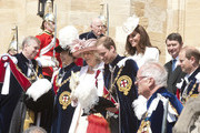 (L-R) Prince Andrew, Duke of York, Princess Anne, Princess Royal, Camilla, Duchess of Cornwall, Prince William, Duke of Cambridge, Catherine, Duchess of Cambridge, Vice Admiral Sir Timothy Laurence and Prince Edward, Earl of Wessex leave after attending the annual Order of the Garter Service at St George's Chapel on June 18, 2011 in Windsor, England. The Order of the Garter is the senior and oldest British Order of Chivalry, founded by Edward III in 1348. Membership in the order is limited to the sovereign, the Prince of Wales, and no more than twenty-four members.