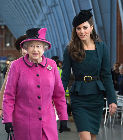 Queen Elizabeth II and Catherine, Duchess of Cambridge (R) arrive at St Pancras station, before boarding a train to visit the city of Leicester, on March 8, 2012 in London, England. The royal visit to Leicester marks the first date of  Queen Elizabeth II's Diamond Jubilee tour of the UK between March 8 and July 25, 2012.