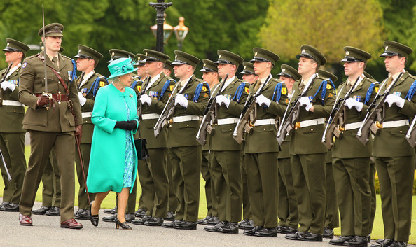 Queen Elizabeth II Queen Elizabeth II inspects the Guard of Honour at the Aras an Uachtarain, the official residence of the President of Ireland, on May 17, 2011 in Dublin, Ireland. The Duke and Queen's visit is the first by a monarch since 1911. An unprecedented security operation is taking place with much of the centre of Dublin turning into a car free zone. Republican dissident groups have made it clear they are intent on disrupting proceedings.