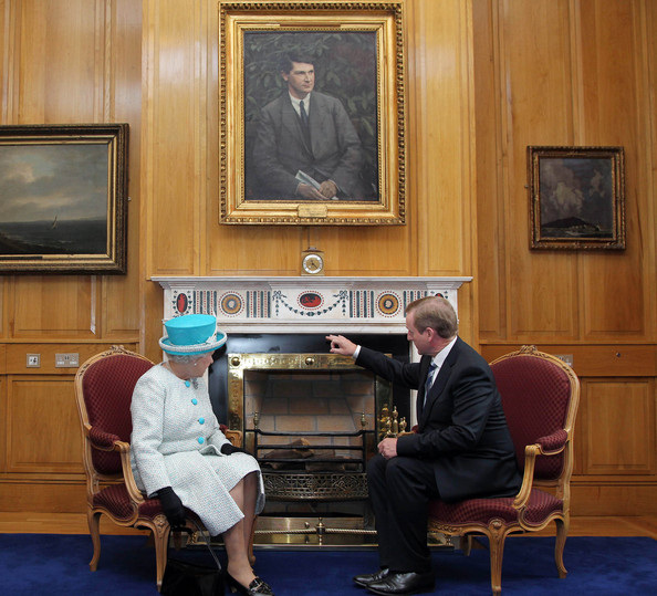 Queen Elizabeth II Queen Elizabeth II (L) meets with Irish Prime Minister Enda Kenny during a visit to his office in Government Buildings on Merrion Street on May 18, 2011 in Dublin, Ireland. The Duke and Queen's visit to Ireland is the first by a monarch since 1911. An unprecedented security operation is taking place with much of the centre of Dublin turning into a car free zone. Republican dissident groups have made it clear they are intent on disrupting proceedings.