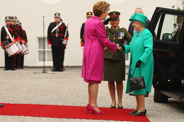 Queen Elizabeth II Queen Elizabeth II (R) is greeted by Irish President Mary McAleese as she arrives at the Aras an Uachtarain, the official residence of the President of Ireland, on May 17, 2011 in Dublin, Ireland. The Duke and Queen's visit is the first by a monarch since 1911. An unprecedented security operation is taking place with much of the centre of Dublin turning into a car free zone. Republican dissident groups have made it clear they are intent on disrupting proceedings.