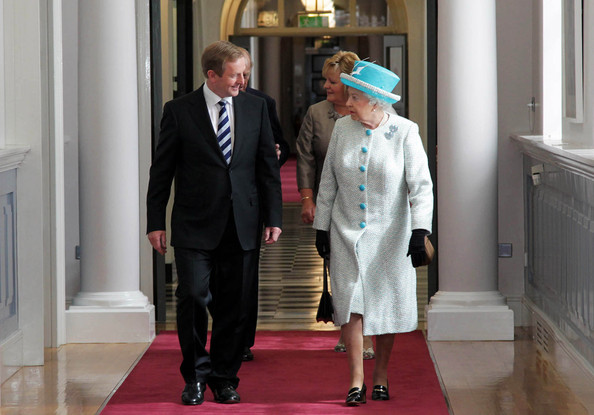 Queen Elizabeth II Queen Elizabeth II (R) and Prince Philip, Duke of Edinburgh (behind) meet Irish Prime Minister Enda Kenny (LL) and his wife Fionnuala Kenny (behind) during a visit to Government Buildings on Merrion Street on May 18, 2011 in Dublin, Ireland. The Duke and Queen's visit to Ireland is the first by a monarch since 1911. An unprecedented security operation is taking place with much of the centre of Dublin turning into a car free zone. Republican dissident groups have made it clear they are intent on disrupting proceedings.