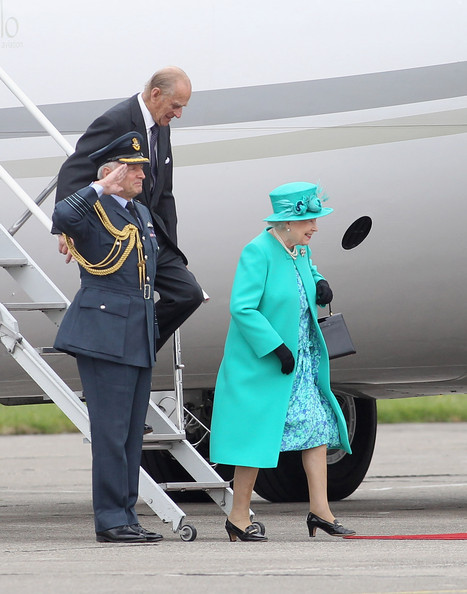 Queen Elizabeth II Queen Elizabeth II and Prince Philip, Duke of Edinburgh step off the Royal Flight as they arrive in Dublin on May 17, 2011 in Dublin, Ireland. The Duke and Queen's visit is the first by a monarch since 1911. An unprecedented security operation is taking place with much of the centre of Dublin turning into a car free zone. Republican dissident groups have made it clear they are intent on disrupting proceedings.