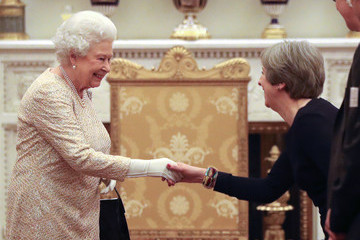 Queen Elizabeth II Theresa May The Commonwealth Diaspora Reception at Buckingham Palace