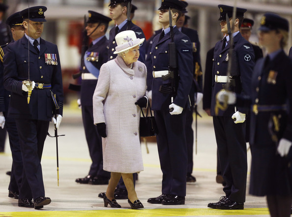 Queen Elizabeth II is seen during an inspection of personnel from No 1 (Fighter) Squadron as she visits RAF Lossiemouth on her 67th wedding anniversary on November 20, 2014 in Lossiemouth, Scotland. It was the Queen's first visit to the base since 2003.