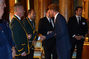 Queen Elizabeth II shakes hands with South Africa's Rugby Union Captain Fourie du Preez at a reception at Buckingham Palace to welcome Rugby World Cup stars on October 12, 2015 in London, United Kingdom.