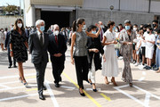 "(4L-R) Queen Letizia of Spain, Minister of Education, Isabel Celáa and President of the regional government of Navarra, María Chivite are seen leaving ""EGA"" school to celebrate the opening of the School Course 20-21 on September 14, 2020 in Navarra, Spain."