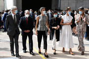 "(3L-R) Queen Letizia of Spain, Minister of Education, Isabel Celáa and President of the regional government of Navarra, María Chivite are seen leaving ""EGA"" school to celebrate the opening of the School Course 20-21 on September 14, 2020 in Navarra, Spain."