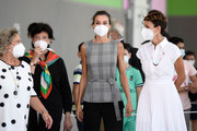 """(L-R) Minister of Education, Isabel Celáa, Queen Letizia of Spain and President of the regional government of Navarra, María Chivite are seen arriving to """"Nuestra Señora del Patrocinio"""" school to celebrate the opening of the School Course 20-21 on September 14, 2020 in Navarra, Spain."""
