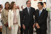 (L-R) Government Delegate in Catalonia Llanos de Luna, Queen Letizia of Spain, Minister of Health Alfonso Alonso and President of the Spanish Federation of Rare Diseases Juan Carrion attend the 2nd Congress of Rare Childhood Diseases at CosmoCaixa on April 14, 2015 in Barcelona, Spain.