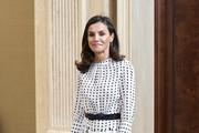Queen Letizia of Spain attends several audiences at Zarzuela Palace on June 14, 2019 in Madrid, Spain.