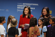 Queen Letizia of Spain (C) and Francina Armengol (L) attends the closure of the 'International Conference On Safe Schools' on May 29, 2019 in Palma de Mallorca, Spain.