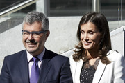 Queen Letizia of Spain (R) attends  'The Inclusion of Disability in News Media' forum at the Ilunion Tower on September 10, 2019 in Madrid, Spain.