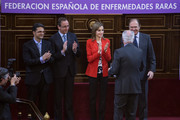 Alfonso Alonso (2L), Queen Letizia of Spain, Eduardo Punset (2R) and Pio Garcia-Escudero (R) attend the Rare Diseases World Day ceremony at Spanish Senate on March 5, 2015 in Madrid, Spain.