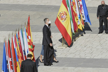 Queen Letizia of Spain King Felipe VI of Spain Official Event Tribute For Covid Victims In Spain