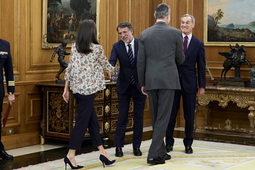 Queen Letizia of Spain King Felipe VI of Spain Spanish Royals Attend Audiences At Zarzuela Palace