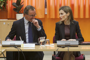 Spanish Minister of Health, Social Services and Equality Alfonso Alonso and Queen Letizia of Spain visit the ONCE Education Resource Center on February 25, 2015 in Madrid, Spain.