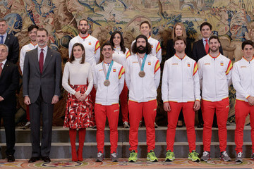 Queen Letizia of Spain Spanish Royals Receive Olympic Team At Zarzuela Palace