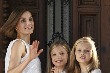 Queen Letizia of Spain Spanish Royals Pose at Marivent Palace