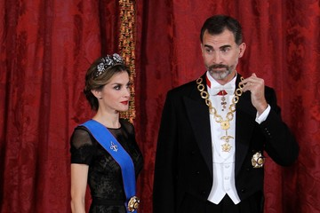 Queen Letizia of Spain Gala Dinner at the Royal Palace in Madrid