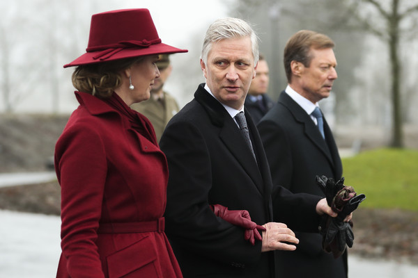 King Philippe Of Belgium And Queen Mathilde Attend The 75th Battle Of The Bulge Anniversary Remembrance Ceremony In Bastogne [battle of the bulge,suit,fedora,headgear,hat,formal wear,photography,white-collar worker,fashion accessory,philippe of belgium,mathilde,henri grand duke of luxembourg,anniversary remembrance ceremony in bastogne,l-r,belgium,bastogne,remembrance ceremony]