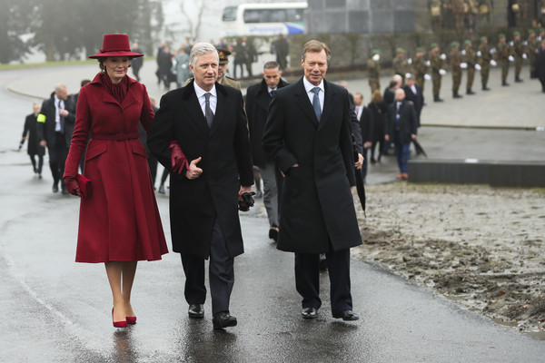 King Philippe Of Belgium And Queen Mathilde Attend The 75th Battle Of The Bulge Anniversary Remembrance Ceremony In Bastogne [battle of the bulge,fashion,standing,event,suit,uniform,winter,white-collar worker,formal wear,philippe of belgium,mathilde,henri grand duke of luxembourg,anniversary remembrance ceremony in bastogne,l-r,belgium,bastogne,remembrance ceremony]