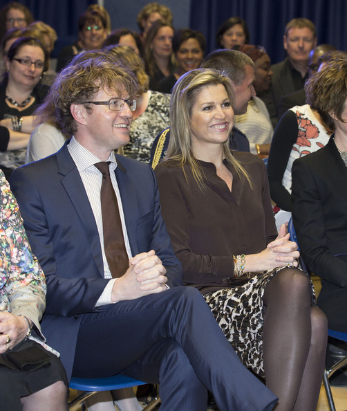 Queen Maxima of The Netherlands and Sander Dekker attend an evening with parents discussing financial education at elementary school The Archipel on April 14, 2014 in Almere, Netherlands.