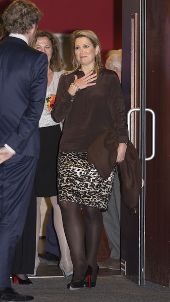 Queen Maxima of The Netherlands leaves the Archipel elementary school after an evening with parents discussing financial education on April 14, 2014 in Almere, Netherlands.