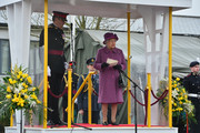 Queen Elizabeth II gives an address to members of The Royal Welsh Regimental Family as she visits to present Leeks to The Royal Welsh to mark St David's Day at Lucknow Barracks on March 3, 2017 in Tidworth, England.