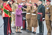 Queen Elizabeth II presents leeks to soldiers from The Royal Welsh Regiment, to mark St David's Day at Lucknow Barracks on March 3, 2017 in Tidworth, England.