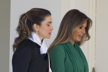 Queen Rania Donald Trump And Melania Trump Welcome Jordan's King Abdullah And Queen Rania To White House