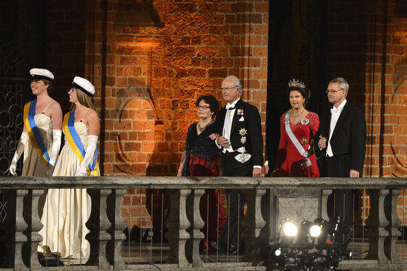 Nobel Prize Banquet Held in Stockholm [event,performance,heater,musical,musical theatre,stage,performing arts,ceremony,drama,carl gustaf xiv,silvia of sweden,carl-henrik heldin,chairman of the board,l-r,stockholm,sweden,dinner companion,nobel foundation,nobel prize banquet]
