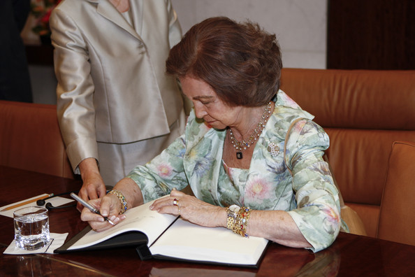 Queen Sofia Meets with Ban Ki-Moon [guest book,adaptation,learning,writing instrument accessory,sofia of spain,ban ki-moon,juan carlos,queen,secretary general,son,favor,spain,united nations]