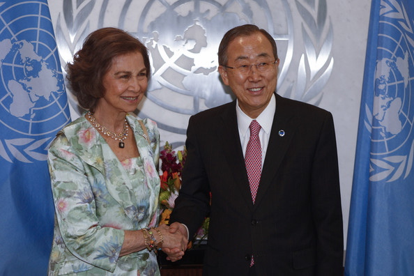 Queen Sofia Meets with Ban Ki-Moon [event,suit,adaptation,businessperson,award,employment,management,world,tourism,sofia of spain,ban ki-moon,juan carlos,queen,secretary general,son,hands,favor,spain,united nations]