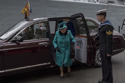 Queen Elizabeth II arrives to visit HMS Sutherland in the West India Dock as the ship celebrates its 20th anniversary of her Commissioning on October 23, 2017 in London, England.