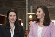 Minister of Equality Irene Montero (L) and Queen Letizia of Spain (R) attend a meeting with APRAMP (Prostitution Women Association) on March 06, 2020 in Madrid, Spain.