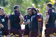 Cameron Smith, Sam Thaiday and team mates gather for a chat during the Queensland Maroons State of Origin training session at Sanctuary Cove on May 24, 2015 in Brisbane, Australia.