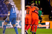Lionel Messi (R) of FC Barcelona celebrates scoring their opening goal with teammate Neymar JR. (L) and Luis Suarez (2ndL)  during the La Liga match between RC Deportivo La Coruna and FC Barcelona at Riazor Stadium on January 18, 2015 in La Coruna, Spain.