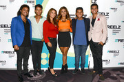 Donte Jackson, Jaafar Jackson, Alejandra Jackson, Genevieve Jackson, Jermajesty Jackson and Randy Jackson Jr. pose backstage at the Reelz Channel 'Living With The Jacksons' panel at the 2014 Summer Television Critics Association at The Beverly Hilton Hotel on July 12, 2014 in Beverly Hills, California.