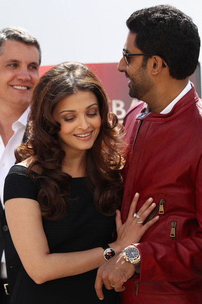 "Actress Aishwarya Rai Bachchan and Abhishek Bachchan attend the ""Raavan"" Photocall at the Salon Diane at The Majestic during the 63rd Annual Cannes Film Festival on May 17, 2010 in Cannes, France."