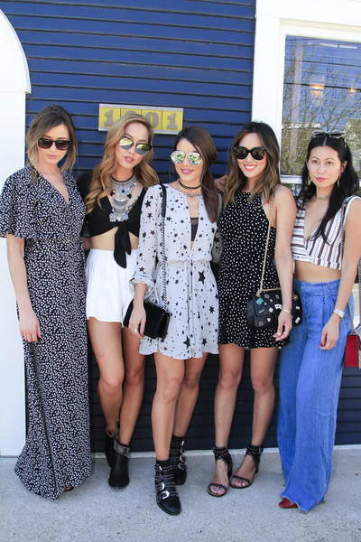 REVOLVE SXStyle Josephine House Brunch [eyewear,people,fashion,social group,event,fashion design,footwear,street fashion,sunglasses,dress,sxstyle,dani song,eleanor calder,aimee song,raissa gerona,camila coelho,l-r,austin style brunch,revolve,josephine house brunch]