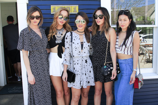 REVOLVE SXStyle Josephine House Brunch [eyewear,people,fashion,clothing,street fashion,dress,sunglasses,event,fashion design,glasses,sxstyle,dani song,eleanor calder,aimee song,raissa gerona,camila coelho,l-r,austin style brunch,revolve,josephine house brunch]