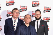 (L-R) Producer Kevin Loader, actor Armando Iannucci and screenwriter Peter Fellows, winners of the award for Best Comedy for 'Death of Stalin', pose in the winners room at the Rakuten TV EMPIRE Awards 2018 at The Roundhouse on March 18, 2018 in London, England.