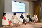 (L-R) Lisa Ling, Stephanie Allain, Zoe Lister-Jones, Catt Sadler, and Sanaa Lathan speaks onstage during Ralph Lauren Fragrances x Women In Film Sisterhood Of Leaders Event on October 24, 2018 in Beverly Hills, California.